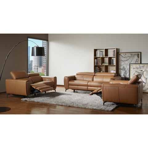J&M Furniture Liam 3 Piece Living Room Set in Caramel