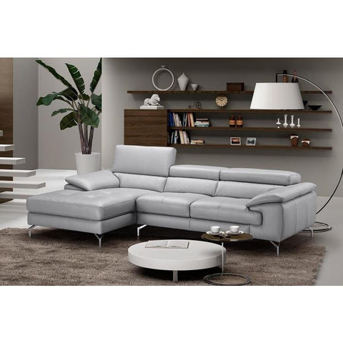J&M Furniture Liam Premium Leather Sectional Left Hand Facing Chaise in Light Grey