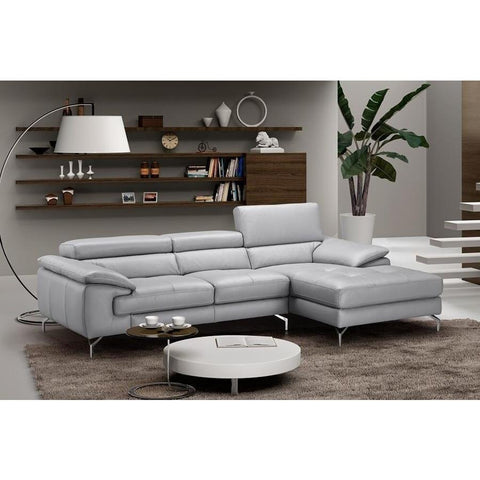 J&M Furniture Liam Premium Leather Sectional Right Hand Facing Chaise in Light Grey