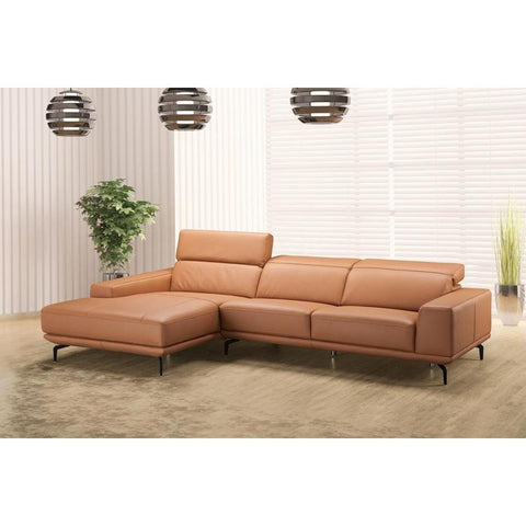 J&M Furniture Lima Sectional Left Hand Facing Chiase in Peru Orange