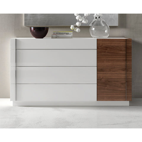 J&M Furniture Lisbon Dresser in White & Walnut