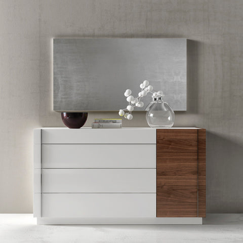 J&M Furniture Lisbon Dresser w/ Mirror in White & Walnut