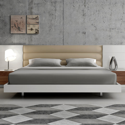 J&M Furniture Lisbon Platform Bed in White & Walnut