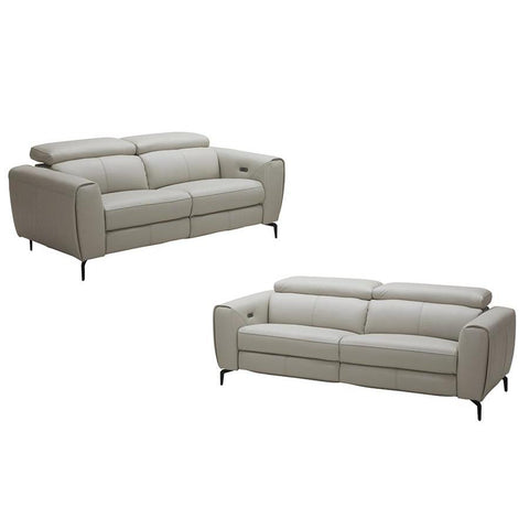 J&M Furniture Lorenzo 2 Piece Living Room Set in Light Grey