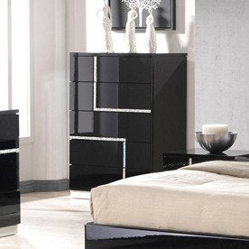 J&M Furniture Lucca Chest in Black Lacquer