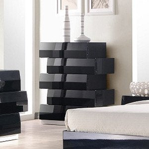 J&M Furniture Milan Chest in Black Lacquer