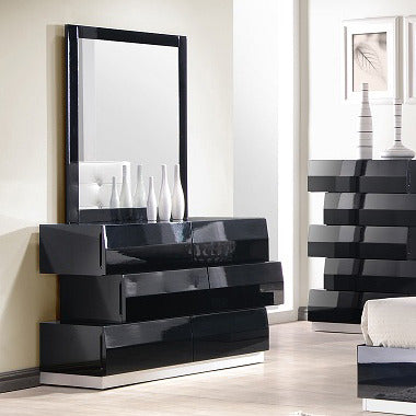 J&M Furniture Milan Dresser & Mirror in Black Lacquer