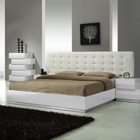 J&M Furniture Milan Platform Bed in White Lacquer