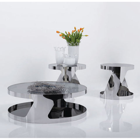 J&M Furniture Modern 931 3 Piece Coffee Table Set in Glass & Steel