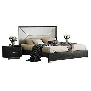 J&M Furniture Monte Leone 2 Piece Queen Platform Bedroom Set in Grey