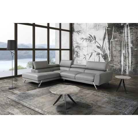J&M Furniture Mood Grey Leather Sectional Left Hand Facing