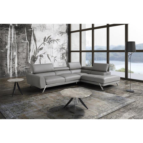 J&M Furniture Mood Grey Leather Sectional Right Hand Facing