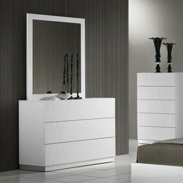 J&M Furniture Naples Dresser w/ Mirror in White Lacquer