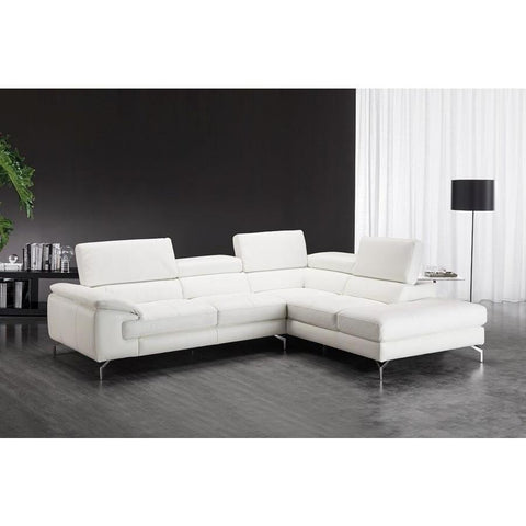 J&M Furniture Nila Premium Leather Sectional In Right Facing Chaise in White
