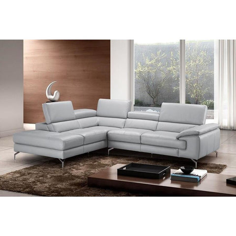 J&M Furniture Olivia Premium Leather Sectional In Left Facing Chaise in Light Grey