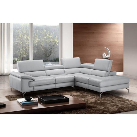 J&M Furniture Olivia Premium Leather Sectional In Right Facing Chaise in Light Grey