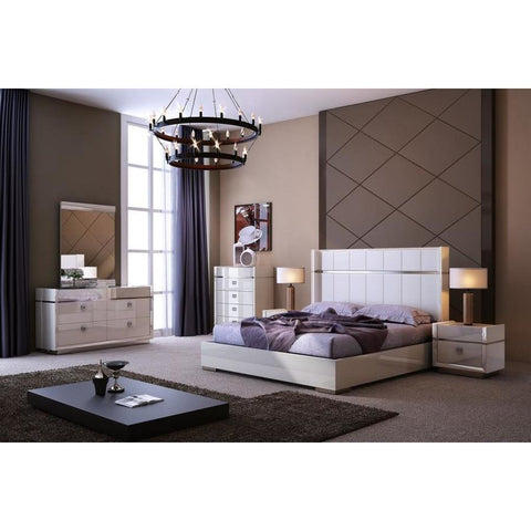 J&M Furniture Paris Platform Bed in Light Grey