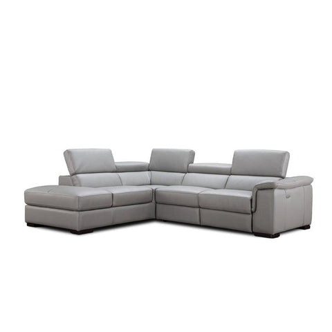 J&M Furniture Perla Premium Leather Sectional Left Hand Facing Chaise in Light Grey