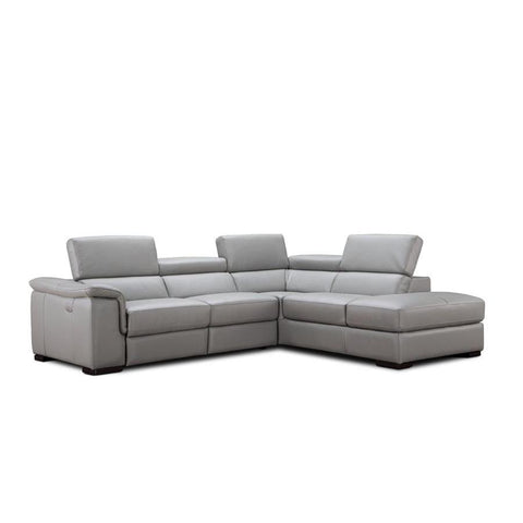 J&M Furniture Perla Premium Leather Sectional Right Hand Facing Chaise in Light Grey