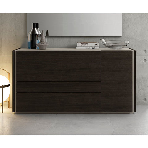 J&M Furniture Porto Dresser in Light Grey & Wenge