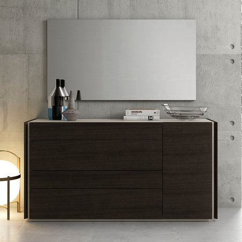 J&M Furniture Porto Dresser w/ Mirror in Light Grey & Wenge
