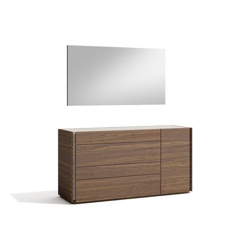 J&M Furniture Porto Dresser w/Mirror in Walnut