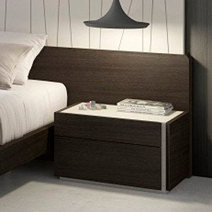 J&M Furniture Porto Nightstand in Light Grey & Wenge