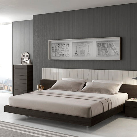 J&M Furniture Porto Platform Bed in Light Grey & Wenge