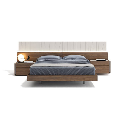 J&M Furniture Porto Platform Bed in Walnut