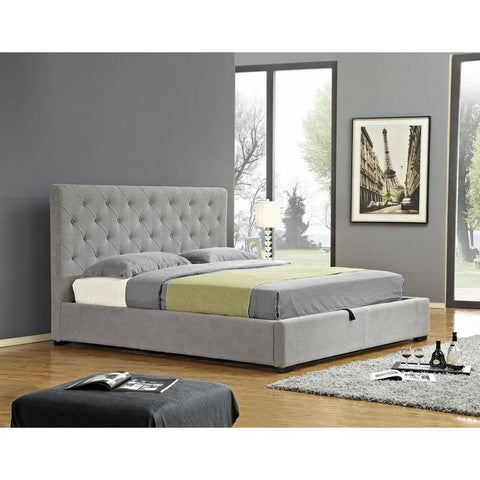 J&M Furniture Prague Upholstered Sotrage Bed in Light Grey