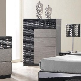 J&M Furniture Roma Chest in Black & Grey Lacquer