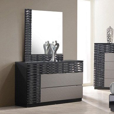J&M Furniture Roma Dresser w/ Mirror in Black & Grey Lacquer