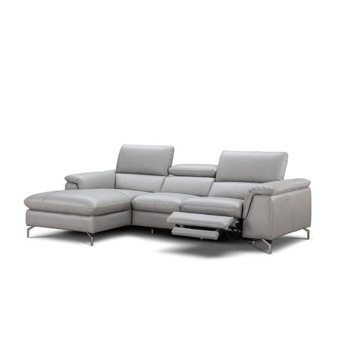J&M Furniture Serena Premium Leather Sectional Left Hand Facing Chaise in Light Grey