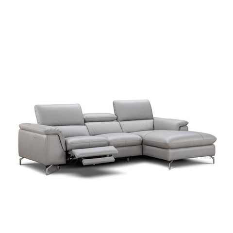 J&M Furniture Serena Premium Leather Sectional Right Hand Facing Chaise in Light Grey