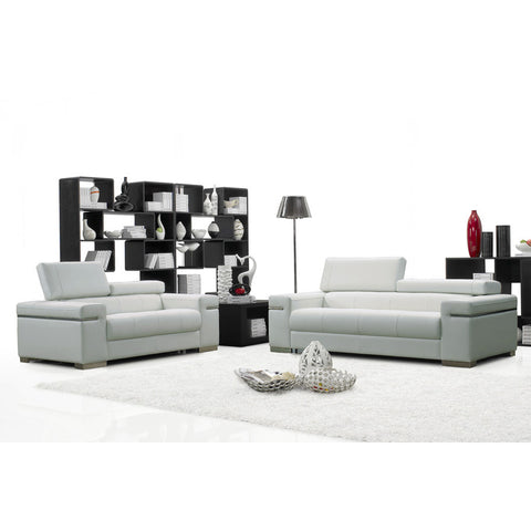 J&M Furniture Soho 2 Piece Living Room Set in White Leather