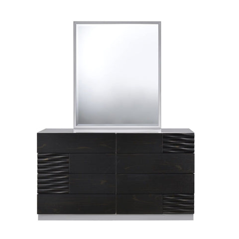 J&M Furniture Tribeca Dresser & Mirror in Black & Grey