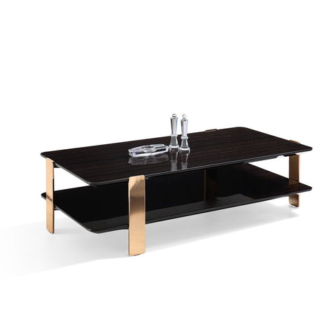 J&M Furniture Vegas Coffee Table in Ebony & Rose Gold