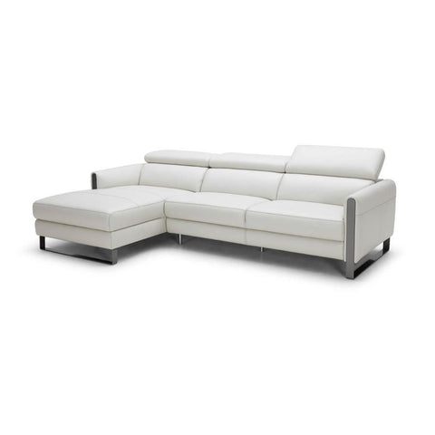 J&M Furniture Vella Premium Leather Sectional Left Hand Facing in Light Grey