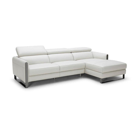J&M Furniture Vella Premium Leather Sectional Right Hand Facing in Light Grey