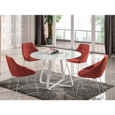 J&M Furniture Vera 5 Piece Dining Room Set in White & Pumpkin