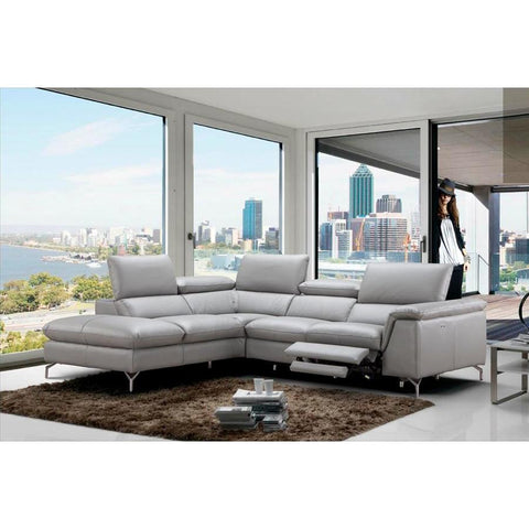 J&M Furniture Viola Premium Leather Sectional Left Hand Facing Chaise in Light Grey