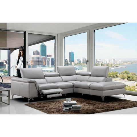 J&M Furniture Viola Premium Leather Sectional Right Hand Facing Chaise in Light Grey