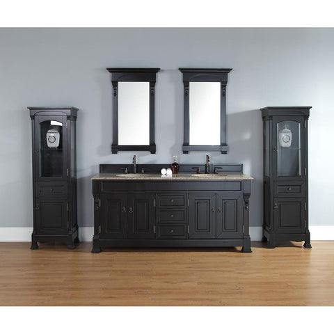 "James Martin Brookfield 72"" Five Piece Double Vanity Set In Antique Black"