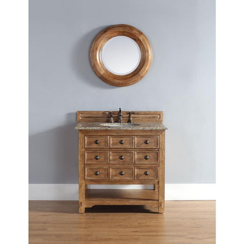 "James Martin Malibu 36"" Single Vanity And Mirror Set In Honey Alder"