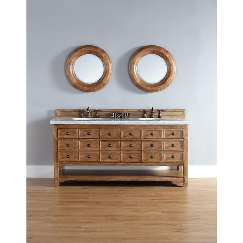 "James Martin Malibu 72"" Double Vanity And Mirror Set In Honey Alder"