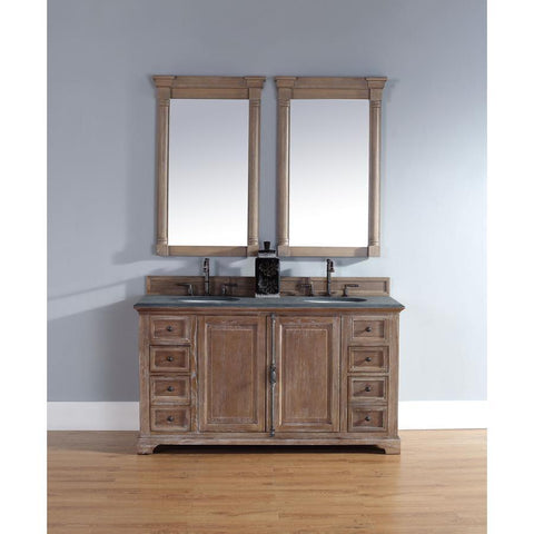 "James Martin Providence 60"" Double Vanity And Mirror Set In Driftwood"