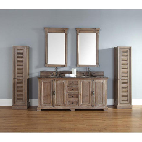 "James Martin Providence 72"" Five Piece Double Vanity Set In Driftwood"