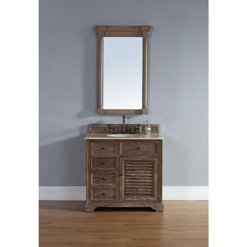 "James Martin Savannah 36"" Single Vanity And Mirror Set In Driftwood"