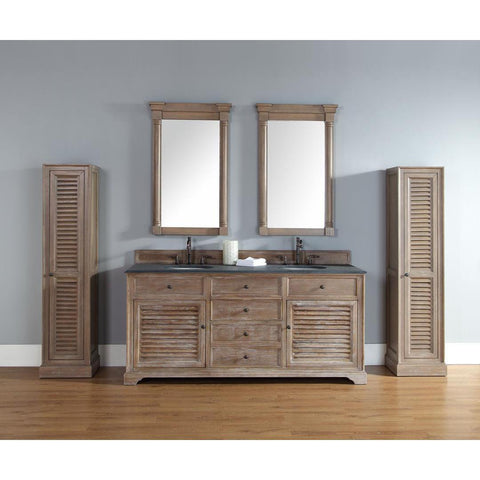 "James Martin Savannah 72"" Five Piece Double Vanity Set In Driftwood"