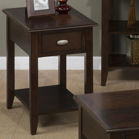 Jofran 1030-7 Chairside Table w/ Bookmatch Inlay - Quarter Round Edge - Oval Brushed Nickle Hardware